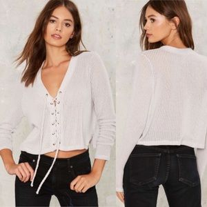 Nasty Gal Crystal Cove Lace-Up Sweater